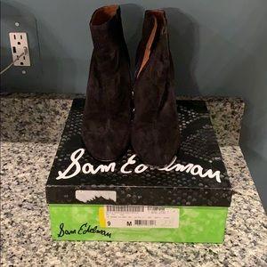 Beautiful black suede wedge booties